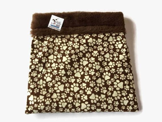 Paw Print Burrow Bag, Pocket Bed, Snuggle Sack, Dog Bed, Guinea Pig Bed, Dog Sleeping Bag, Cat Den,Bearded Dragon Bedding, Doxie Cave, SSM