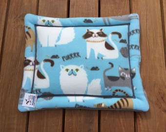 Blue Cat Bed, Cat Chair Pad, Small Pet Mat, Cat Lover Gifts, Gift for Cat Lovers, Size 16x19