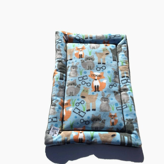 Blue Dog Bed with Woodland Critters, Crate Pad, Cat Bedding, Medium Pet Bed, Fits 24x36 Kennel