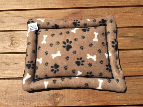 Brown Dog Crate Pad with Paw Prints and Dog Bones, Stroller Pet Bed, XS