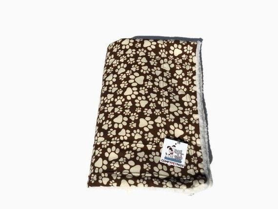Brown Paw Print Dog Blanket, Size 39x29