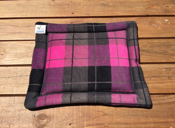 Pink Plaid Dog Bed, Stroller Pet Pad, Cat Table Cover, Small Puppy Bedding, Pet Travel Items, XS