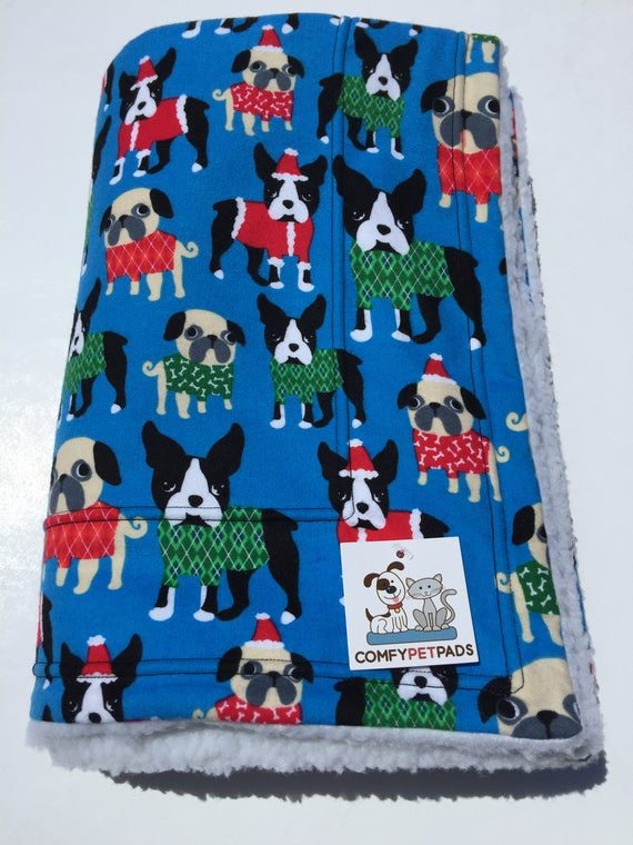 Christmas Blanket, Pug Blanket, Boston Terriers, Stroller Throw, Puppy Bedding, Christmas Dogs, Dogs with Santa Hats, Christmas Decor