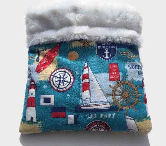 Snuggle Sack for Hedgehogs with Sailboats, Skinny Guinea Pigs and other small pets, Faux Fur, Size 9x9, Washable