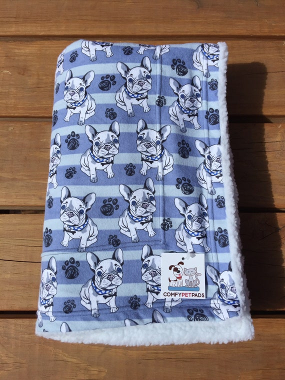 Blanket with French Bulldogs in Blue, Kennel Cover, Pet Stroller, Washable, Size 39x29