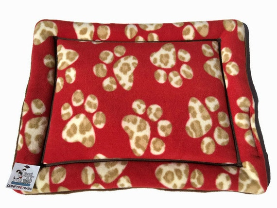 Small Crate Bed, Cat Carrier Pad, Dog Kennel Pad, Chair Cover for Pets, Red Dog Bed, Cat Pad, Paw Print Fleece, Washable Pet Beds, XS
