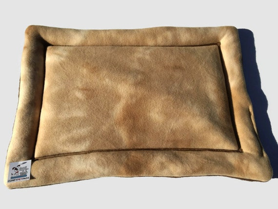 Tan Dog Bed in a Tie Die Khaki fleece print.  Use as a Carrier Pad, Cat Mat, Small Pet Pad, Window Pad for Cat, Fleece Dog Bed, 19x25
