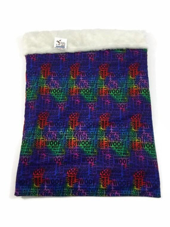 Snuggle Sack with Rainbow Paw Prints, Faux Fur, Size 20x25, SSL