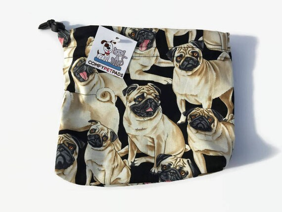 Pug Pouch, Dog Treat Bag, Novelty Pug Fabric, Pug Owner Gift, Travel Bag, Cute Pug Gifts, Dog Leash Bag, Gymnastics Bags, Pet Accessories