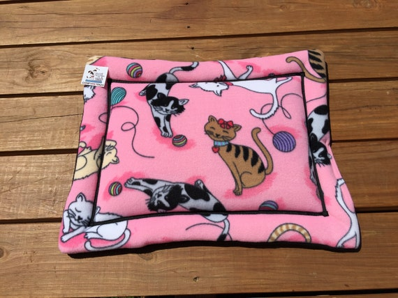 Pink Cat Bed, Pet Stroller Pad, Chair Mat for Cats, Washable Bedding, Chair Cover, Kitten Bed, Fleece Bed, XS