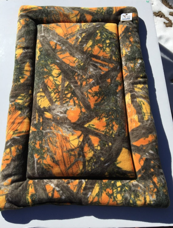 Orange Camo Dog Crate Bed, Kennel Bedding, Fits 24x36 Crate