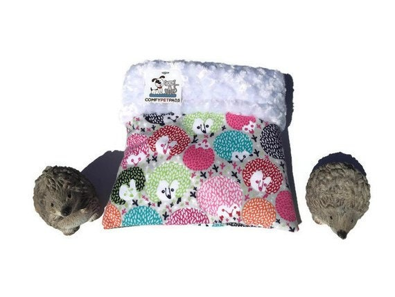 """Colorful Snuggle Sack - Hedgehog Pouch - Minky Swirl Fur - Small Animal Bedding - 3 layers - Size 9""""x9"""" - Washable"""