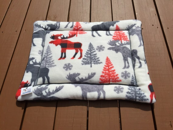 Small Cat Mat, Crate Pad for Dogs, Puppy Bedding, Woodland Pet Beds, Moose Fabric, Lodge Decor, Kennel Liner, Cabin Decor, Puppy Bedding