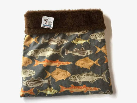Guinea Pig Bed, Snuggle Sack, Fish Flannel, Cuddle Bag, Chihuahua Dog, Small Dog Bedding, Cage Accessories, Small Dog Bed, Burrow Bed, SSM