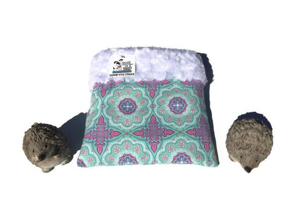 """Floral Snuggle Sack for Hedgehogs, Minky Swirl Fur, Small Animal Bedding, 3 layers, Size 9""""x9"""", Washable"""