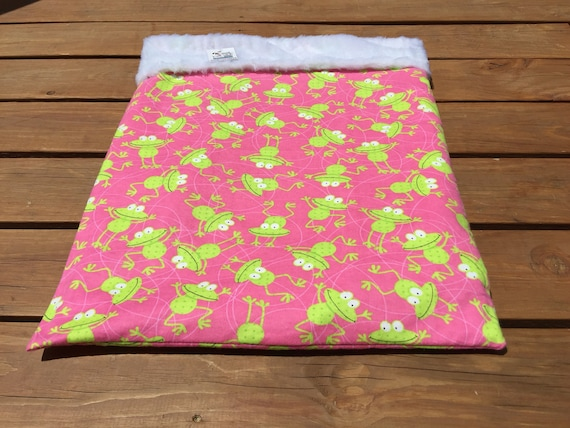 Pink Snuggle Sack with Frogs, Faux Fur, Washable, Size 20x25, SSL