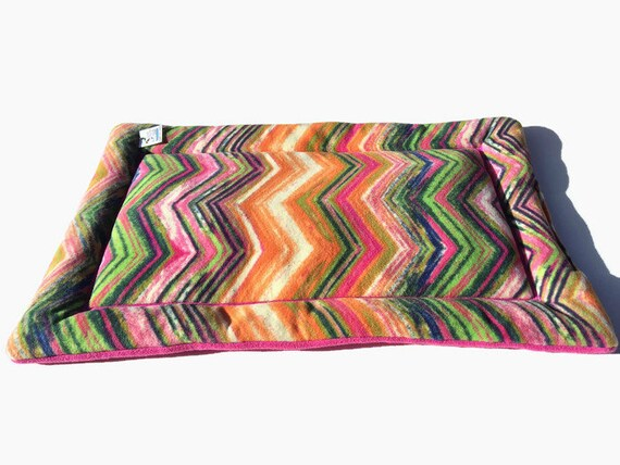 Colorful Chevron Dog Crate Pad, Cat Bed Mat, Puppy Bedding, Couch Pads, Fits 24x36 Kennel