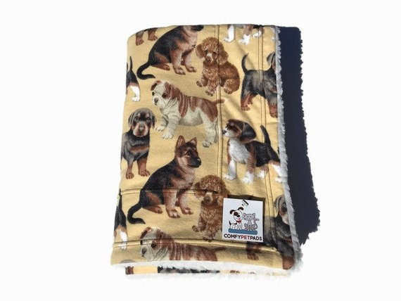 Dog Blanket with Puppies, Crate Pad, Pet Stroller Cover, Size 39x29