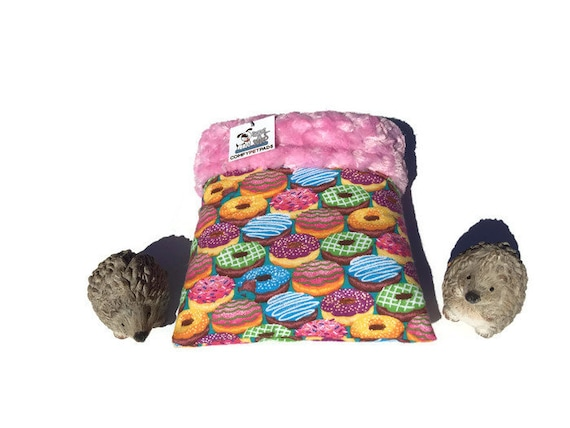 "Snuggle Sack for Hedgehogs - Minky Swirl Fur - Colorful Donuts - Small Animal Bedding - 3 layers - Size 9""x9"" - Washable"