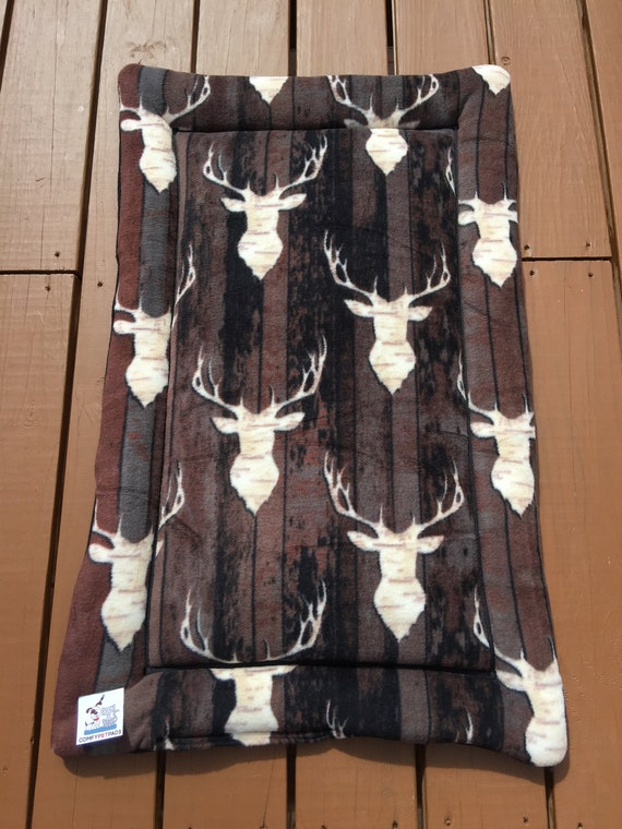 Woodland Dog Bed, Mounted Elk Head, Cabin Decor, Lodge Decor, Dog Crate Pad, Kennel, Hunting Dog Gifts, Puppy Bedding, Fits 24x36 Crate