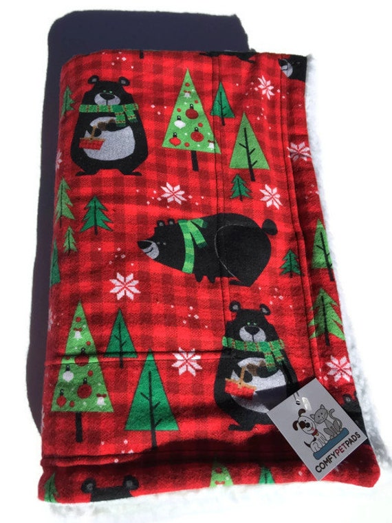 Christmas Blanket with Black Bears, Washable, Size 39x29