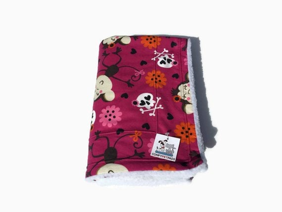 Blanket with Monkeys and Crossbones, Crate Bedding, Toddler Nap, Kennel Pad, Gifts for Boy Girls, Size 39x29