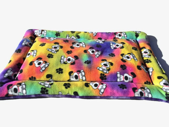 Crate Pad for Dogs in a Rainbow fleece print, Fits 24x36 Kennel