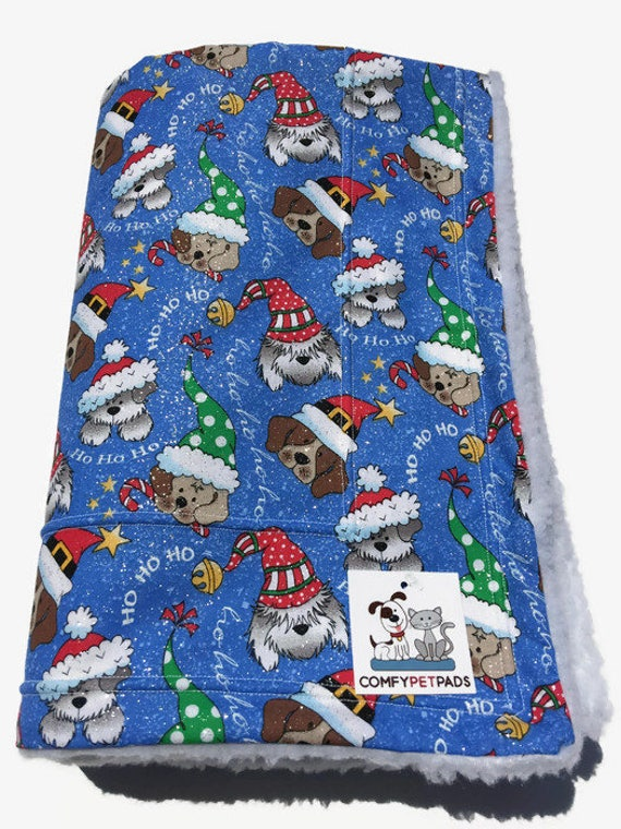 Christmas Dog Blanket, Dogs in Santa Hats, Ho Ho Ho, Holiday Blankets, Christmas Decor, Big Dog Gift, Blue Baby Blankets, Christmas Puppies
