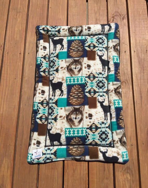 Mountain Dog Bed, Crate Pad for Dogs, Puppy Bedding, Kennel Liner, Woodland Pet Bed, Wolf Decor, Kennel Mat, Fits 24x36 Crate