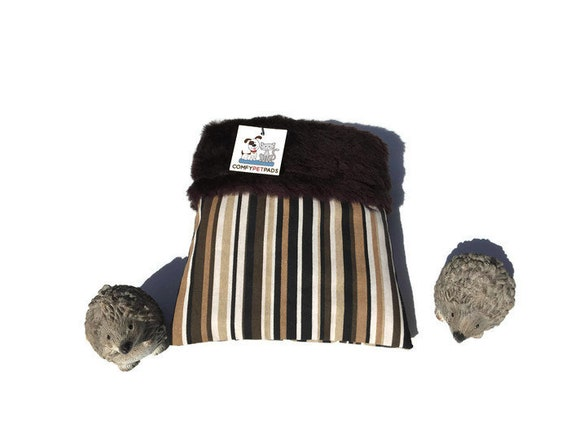 """Snuggle Sack for Hedgehogs - Brown Faux Fur - Small Animal Bedding - 3 layers - Size 9""""x9"""" - Washable"""