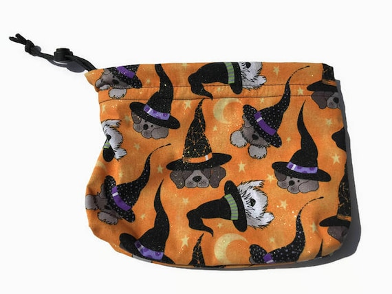 Halloween Cinch Bag,  Kids Trick or Treat, Dogs in Hats, Drawstring Pouch, Accessory Storage, Pet Accessories, Treat Bag, Dog Lover Gifts