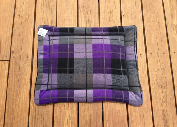 Purple Dog Bed, Cat Table Pad, Small Crate Mat, Window Pad for Cats, Puppy Bed, Pet Travel Items, Lap Pad, Kennel Liner, Plaid, 19x25