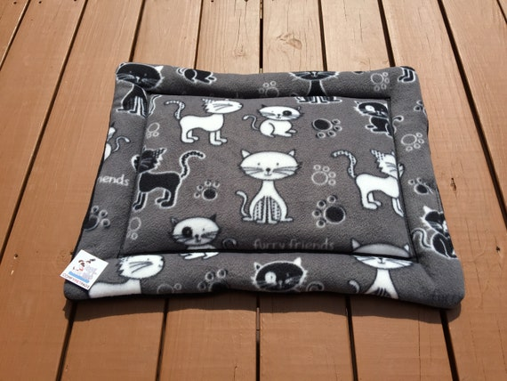 Bed for Cats, Grey Cat Bed, Cat Cushion, Kitten Chair Pad, Gray Cat Mat, Fleece Fabric Cat, Chair Cushion, Crate Pad, Gift for Cat Lovers