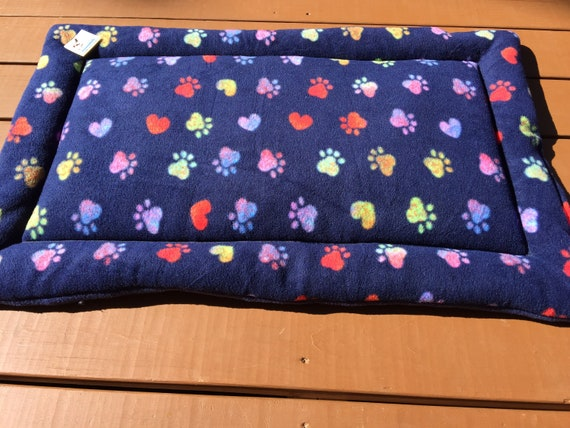 Blue Dog Bed, Pet Training Pad, Dog Crate Pad, Paw Print Dog Bed, Kennel Pads, Dog Crate Bedding, Dog House Pads, Fits 24x36 Kennel