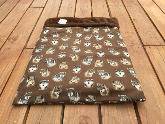 Brown Snuggle Sack with Faux Fur inside, Washable, Size 20x25, SSL