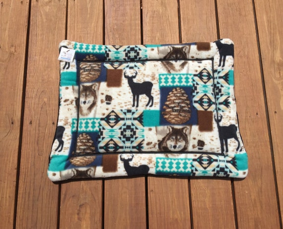 Southwestern Dog Bed, Crate Pad, Small Cat Bed, Forest Critters, Puppy Bed, Kennel Liner, Lodge Decor, Cat Bed, Elk Fabric, 19x25