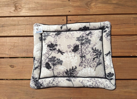 Dog Crate Pad, Cat Couch Pad in light grey with black flowers fleece, XS