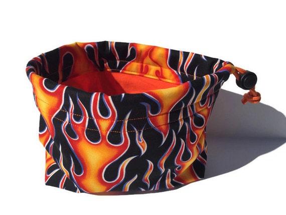 Hot Rod Flames Bag, Gifts Under 10, Fire Birthday, Dog Treat Bag, Dog Leash Bag, Boy Birthday Gift, Craft Bag, Dog Treat Pouch, Kids Toy Bag
