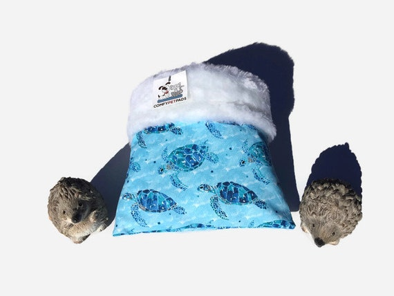 Snuggle Sack for Hedgehogs with Sea Turtles, Faux Fur, 3 layers, Washable, Size 9x9