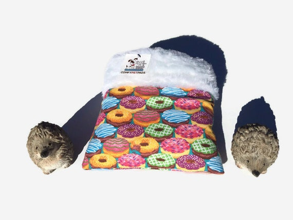 Hedgehog Snuggle Sack with Donuts, Small Animal Bedding, Size 9x9, 3 Layers, Washable
