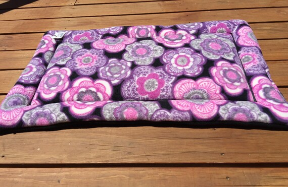 Crate Pad for Dogs with Purple and Grey Flowers, Fits 24x36 Crate