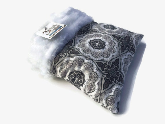 Snuggle Sack for Hedgehogs, Guinea Pig Bedding, Gray White Medallion , Size 9x9, Easy to Clean
