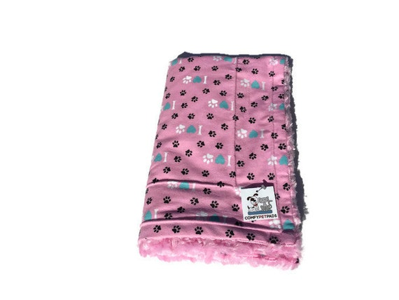 Pink Dog Blanket with Pink Swirl Faux Fur, Pet Stroller Cover, Cage Accessories, Paw Prints and Hearts Flannel, Washable, Size 39x29