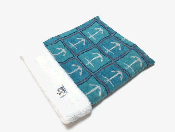 Snuggle Sack with Nautical Anchors, Dog Sleep Bag, Cat Burrow Bag, Washable, Size 28x20 uncuffed