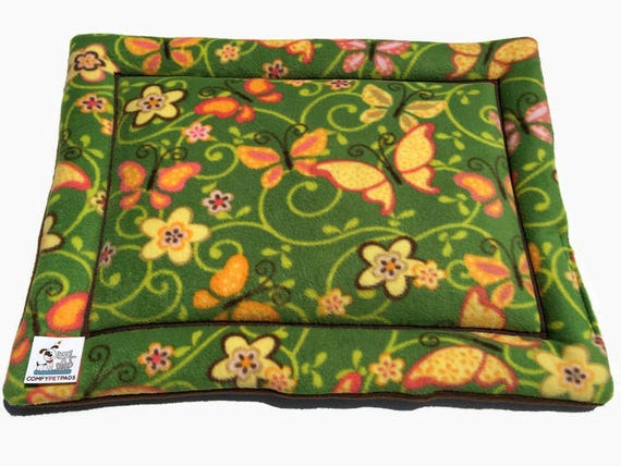Green Cat Bed, Dog Crate Pad, Butterfly Decor, XS