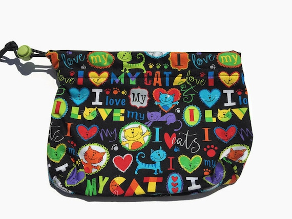 Drawstring Cat Pouch, Crazy Cat Lady, I Love Cats, Pet Accessories, Treat Bag, Cat Lover Gifts, Make Up Bag, Gymnastics Grip Bag, Craft Bags