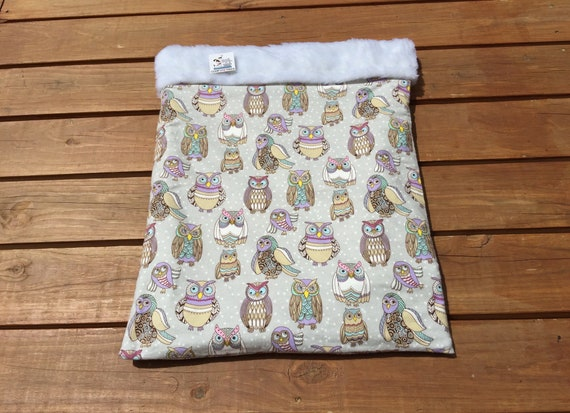 Snuggle Sack for Dogs or Cats with Owls, Faux Fur, Washable, Size 25x20, SSL