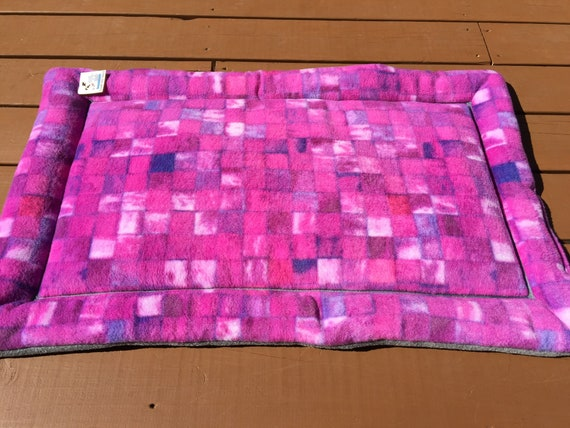 Crate Pad for Dogs, Cat Bed, Magenta Fleece Kennel Mat, Washable, Fits 24x36 Kennel