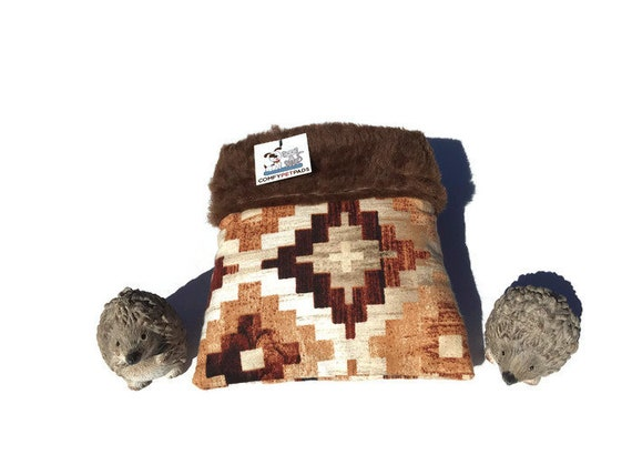 """Southwestern Snuggle Sack - Hedgehog Pouch - Faux Fur - Small Animal Bedding - 3 layers - Size 9""""x9"""" - Washable"""