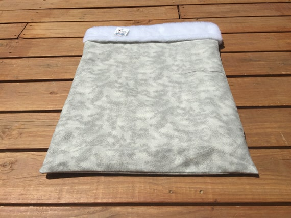 Grey Snuggle Sack with Faux Fur, Washable, Size 20x25, SSL